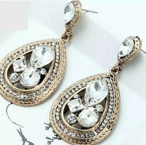 Gold & Rhinestone Drop Earrings